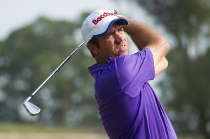 MACAU - OCTOBER 13: Scott Hend of Australia plays a shot during the 3rd round of the Venetian Macau Open at the Macau Golf and Country Club on October 13, 2012 in Macau. (Photo by David Paul Morris/Asian Tour via Getty Images)