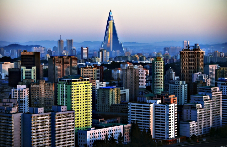 The 105-storey Ryugyong Hotel, the highest building under constr