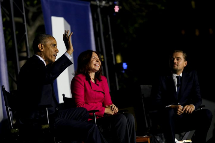 US President Barack Obama participates at a panel discussion with Leonardo DiCaprio and Dr. Katharine Hayhoe on climate change