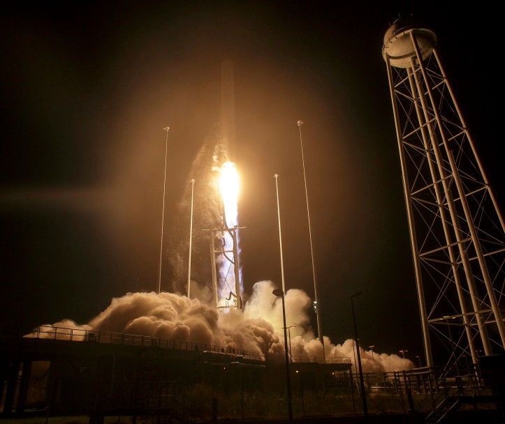 ATK Antares rocket launch from NASA's Wallops Flight Facility in Virginia, USA