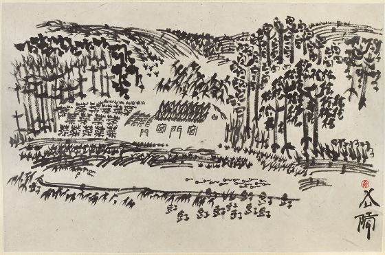 xu-bing-landscript-2001-painting-album-leaf-ink-on-paper-48-9x74-5cm