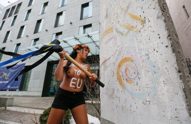 Ukrainian FEMEN activist protest during the Ukraine – EU summit