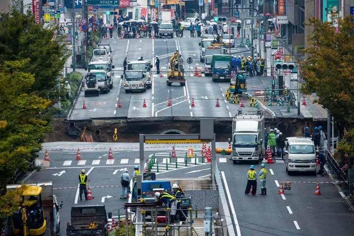 Sinkhole in central Fukuoka, southwestern Japan