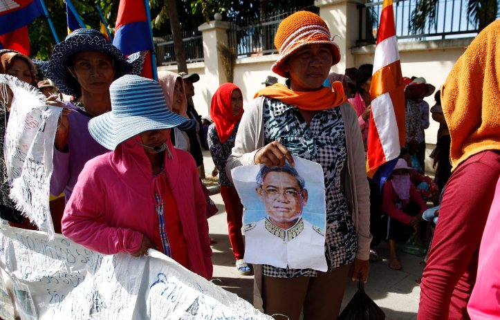 Residents from Koh Kong province gather to protest