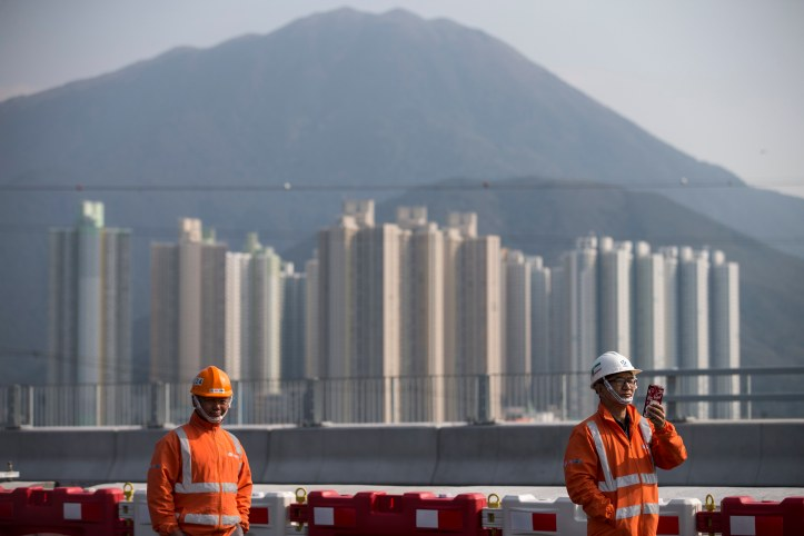 Construction work of Hong Kong-Zhuhai-Macau Bridge