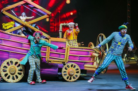 epa05795954 Clowns perform during the Ringling Bros. and Barnum and Bailey Circus at the Philips Arena in Atlanta, Georgia, USA, 15 February 2017. The performance is part of the final tour of the Ringling Bros. and Barnum and Bailey Circus, after it was announced they would cease performances in May 2017, after 146 years.  EPA/ERIK S. LESSER