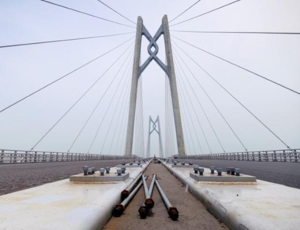 A view of the Hong Kong-Zhuhai-Macau bridge under construction in Zhuhai