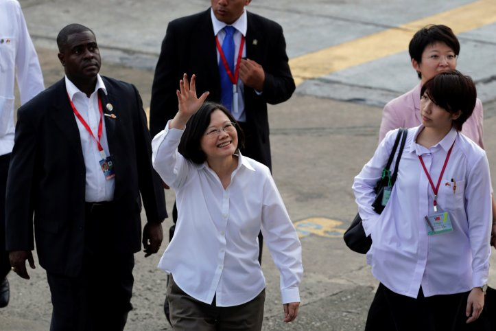 Taiwan's President Tsai Ing-wen waves at the Miraflores locks of the Panama Canal, a day before the inauguration of the Panama Canal Expansion project in Panama City, Panama
